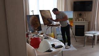 Уфимец рисует нефтью