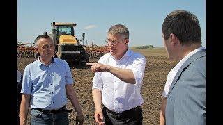 Радий Хабиров ознакомился с ходом посевной кампании и побывал в «Мурадымовском ущелье»