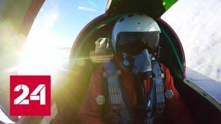 Бой истребителей в ближнем космосе. Видео Минобороны - Россия 24