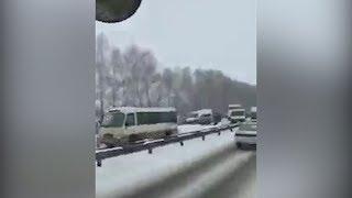 Под Уфой столкнулись 10 машин