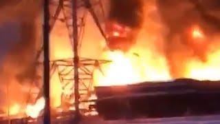 Пожар на нефтяном заводе в Уфе | Ufa1.RU