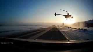 В Башкирии вертолет едва не устроил ДТП на трассе в Башкирии