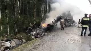 Появилось видео «огненного ДТП» на трассе М-5, где заживо сгорел мужчина