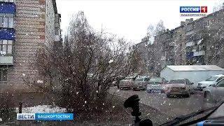 В Туймазах пошел снег