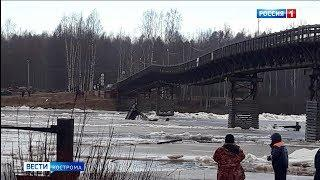 В Макарьевском районе обрушилась опора моста через Унжу