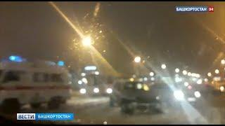 В Уфе на Спортивной столкнулись несколько машин, в том числе карета скорой помощи: ВИДЕО