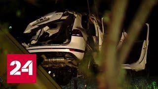 Турпоездка обернулась трагедией: автобус и внедорожник опрокинулись в кювет - Россия 24