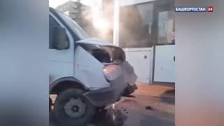 В Уфе пассажирский автобус столкнулся с грузовиком – видео